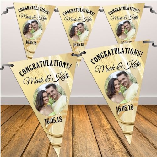 Personalised Congratulations Wedding Engagement Flag PHOTO Bunting Banner - N8